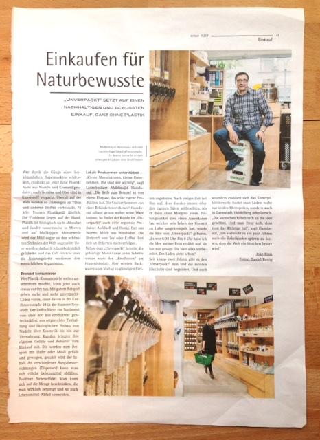 Zeitungsartikel über Unverpackt Mainz im Sensor Mainz November 2017